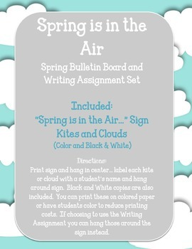 Spring is in the Air Bulletin Board and Writing Assignment Set.  Kites