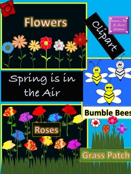 Spring is in the Air ~ Flowers ~ Roses ~ Bumble Bee ~ Spring Grass Clipart