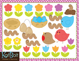 Spring is in the Air, Flowers and Birds Clip Art