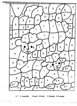 Spring Lambs- K-2-Color by Number in Spanish- Los Corderitos-Primavera