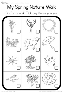 spring nature walk worksheet by little blue orange tpt. Black Bedroom Furniture Sets. Home Design Ideas