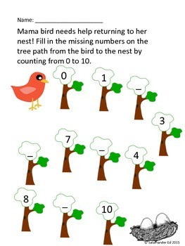 Spring number mazes! Counting 0-10