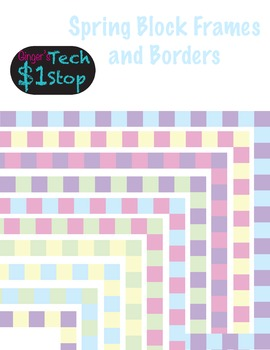 Spring or Summer Pastel Page Borders * Picture Frames * Square Pattern * Easter