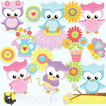 Spring owl clipart commercial use, vector graphics, digital - CL818
