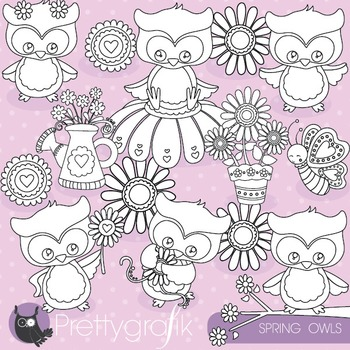 Spring owl stamps commercial use, vector graphics, images - DS818