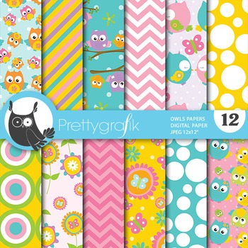 Spring owls digital paper, commercial use, scrapbook papers - PS651