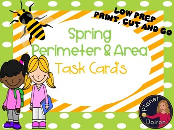 Spring perimeter and area task cards geometry