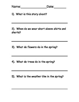 Spring reading comprehension free