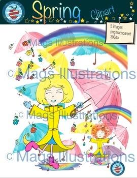 Clip art Spring singing in the rain of flowers, umbrellas