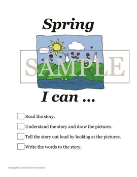 Spring story w/ seasonal clothing, weather & activities -