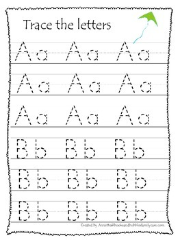 Spring themed A-Z tracing preschool educational worksheets.  Daycare alphabet.