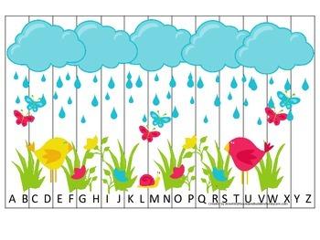 Spring themed Alphabet Sequence Puzzle.  Preschool Alphabe