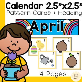 "Spring themed- April Calendar Cards - 2.5"" x 2.5"" - Free"