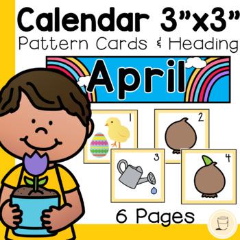 "Spring themed- April Calendar Cards - 3"" x 3"" - Free"