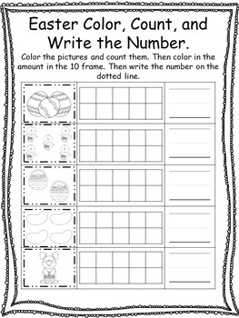 Spring themed Color, Count, and Write the Number. Preschool-Kindergarten Math.