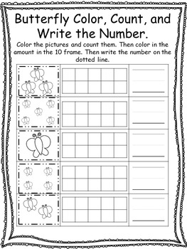 Spring themed Color, Count, and Write the Number. Preschoo