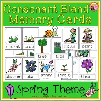 Spring themed Consonant Blend Memory Card Game