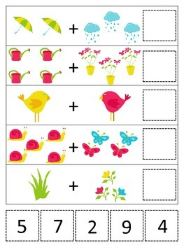 Spring themed Math Addition preschool printable game.  Daycare curriculum.