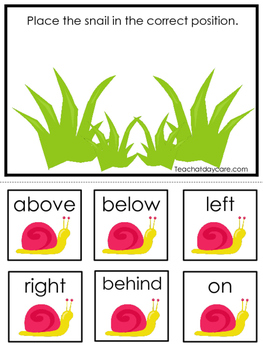 Spring themed Positional Game.  Printable Preschool Curriculum Game