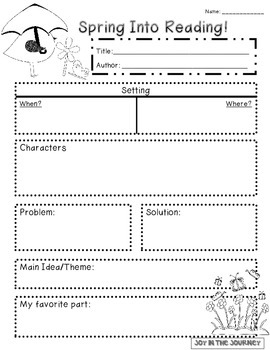 Spring-themed Reading Graphic Organizer FREEBIE!