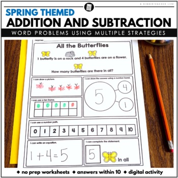 Spring themed Word Problems Addition and Subtraction within 10