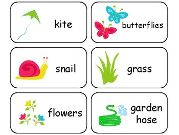 Spring themed printable Picture Word Flashcards. Preschool flashcards.