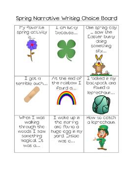 Spring writing narrative choice board