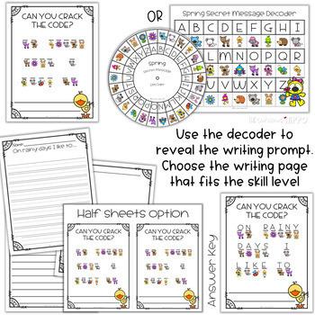 Spring writing prompt using secret code