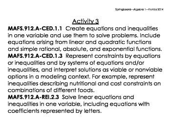 SpringBoard Algebra 1 Standards and Essential Questions Florida