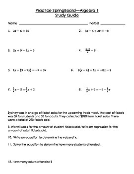 SpringBoard Algebra 1 Unit 1 Activity 1 and 2 Study Guide and Test
