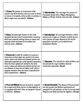 Card Sort: Jim Crow Laws by Texas ELAR Coach | Teachers Pay Teachers
