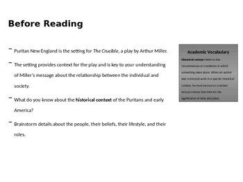 SpringBoard Grade 11 Lesson 2.2, 2.4, and 2.10 The Crucible