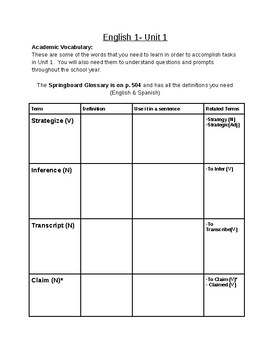 SpringBoard - Grade 9 - Unit 1 - Academic Vocabulary and Literary Terms