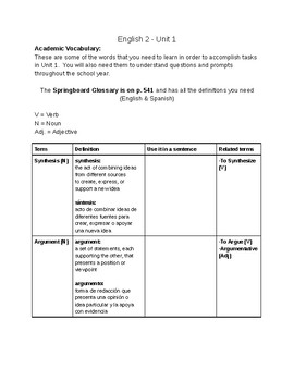 SpringBoard - Unit 1 - Grade 10 - Academic Vocabulary and Literary Terms - ELL