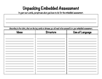 SpringBoard - Unpacking Embedded Assessment Sheet