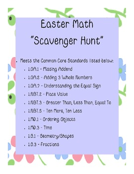 Spring/Easter Common Core Math Scavenger Hunt