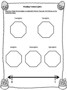 Spring/Easter Fraction Test Prep Activity and Worksheet Bundle