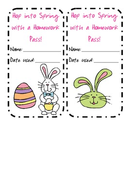 Spring/Easter Homework Pass FREEBIE