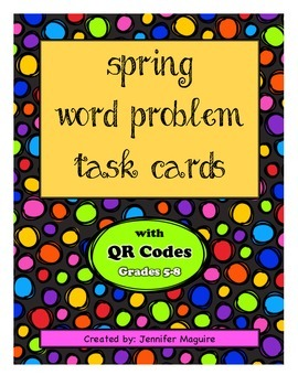 Spring/Easter Word Problem Task Cards with QR codes