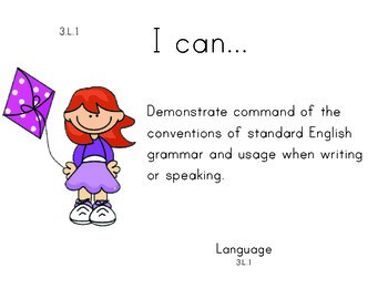 SpringKidskida 3rd grade English Common core standards posters