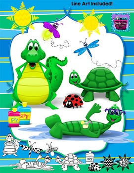 Summer Animals Clipart - Alligator, Turtle, Dragonfly, Lady Bug, Firefly