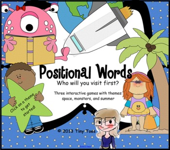 Spring/Summer, Space, Monster Themed Positional Words Game