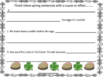 SpringThemed Cause and Effect Sentence Writing and Identification