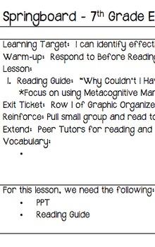Springboard - 7th Grade ELA - Activity 1.9