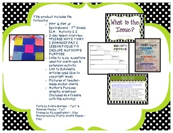 Springboard - 7th Grade ELA - Activity 2.2 (text features & author's purpose)