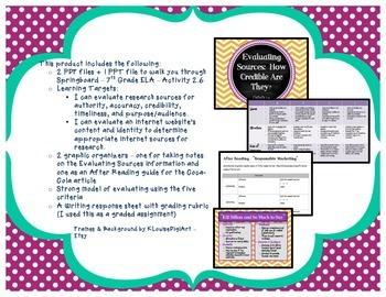 Springboard - 7th Grade ELA - Activity 2.6