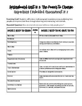 Springboard Grade 6 Unit 2 Embedded Assessment 2 Unpacking Chart