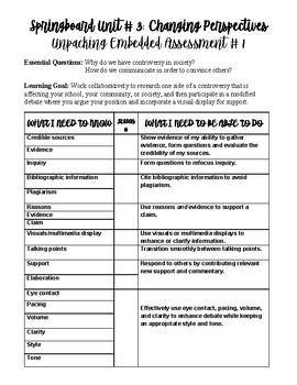 Springboard Grade 6 Unit 3 Embedded Assessment 1 Unpacking Chart