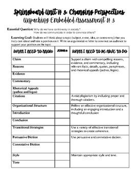 Springboard Grade 6 Unit 3 Embedded Assessment 2 Unpacking Chart