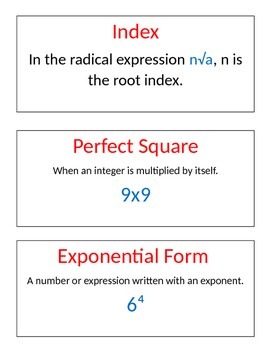 Springboard Vocabulary Words-Grade 8 Unit 1 Math